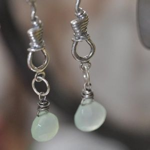 Jewelry - Unique Long Sterling Wrapped Briolette Earrings